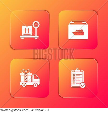 Set Scale With Cardboard Box, Cargo Ship Boxes, Delivery Truck Gift And Verification Of Delivery Lis
