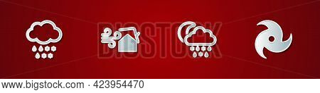Set Cloud With Snow And Rain, Tornado Swirl, Snow, Moon And Icon. Vector