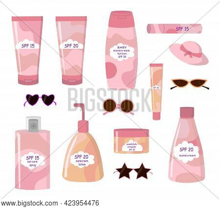 A Set Of Cosmetic Items For Sun Protection. Cream And Lotion For The Skin, Lipstick, Hat, Sunglasses