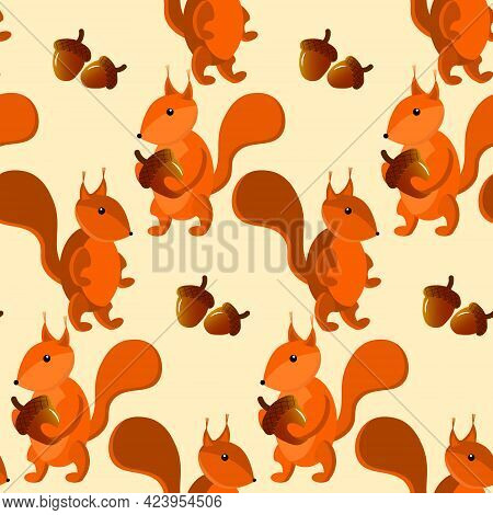 Squirrel And Acorn Pattern. Autumn Illustration For Children. Vector Drawing For Use In Childrens Pr