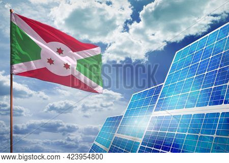 Burundi Solar Energy, Alternative Energy Industrial Concept With Flag - Fight With Global Warming -