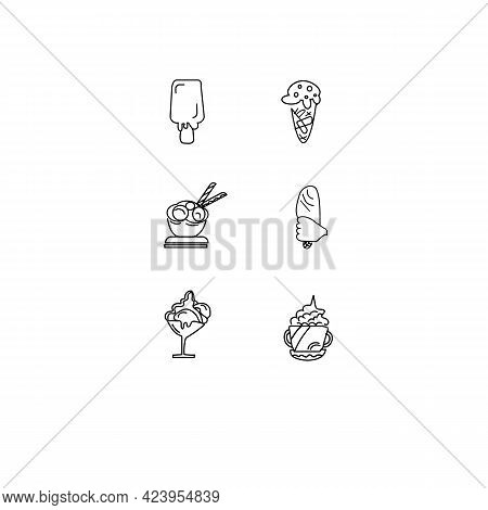 Ice Cream Cone With One Scoop Line Art Vector Icon For Apps And Websites