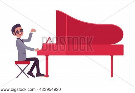 Musician, Jazz, Rock And Roll Man Playing Grand Piano Instrument. Night Club Art Music, Pop Concert,