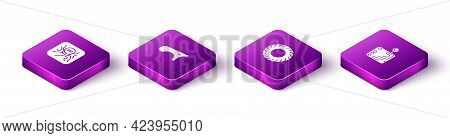 Set Isometric Gear Shifter, Car Fender, Tire And Icon. Vector