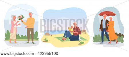 Dating Of Happy Elderly Loving Couple, Valentines Day, Lovers Walking, Sitting Together