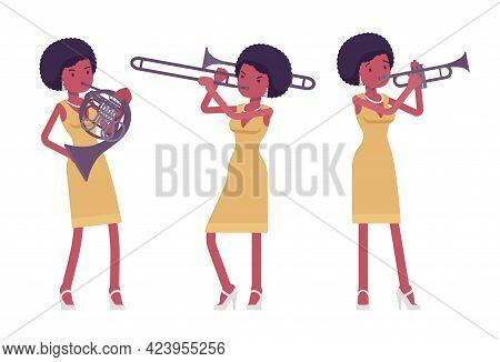 Musician, Afro Beautiful African American Lady Playing Wind Instruments. French Horn, Trumpet, Horn
