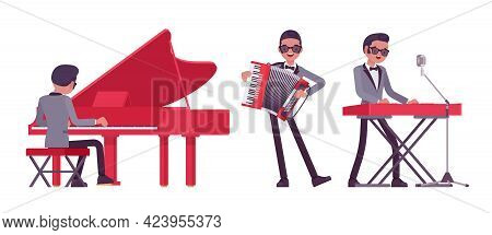 Musician, Jazz, Rock And Roll Man Playing Professional Keyboard Instruments. Grand Piano, Accordion,