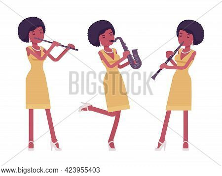 Musician, Afro Beautiful African American Lady Playing Wind Instruments. Saxophone, Clarinet, Flute