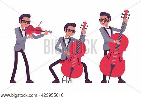 Musician, Jazz, Rock And Roll Man Playing Professional String Instrument. Double Bass, Violin, Fiddl