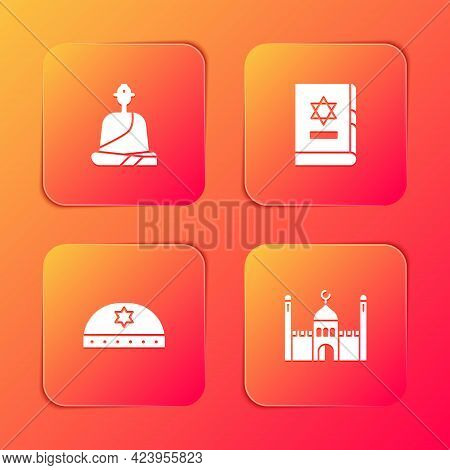 Set Buddhist Monk, Jewish Torah Book, Kippah With Star Of David And Muslim Mosque Icon. Vector