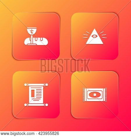 Set First Communion Symbols, Masons, Decree, Paper, Parchment, Scroll And Traditional Carpet Icon. V