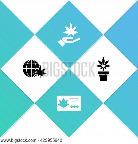 Set Legalize Marijuana Globe, Calendar And Leaf, Marijuana Or Cannabis And Plant Icon. Vector