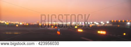 View Of Runway Of Airport Abstract Boke Bokeh Background. Design Backdrop. Panorama Panoramic View.