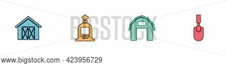 Set Farm House, Full Sack, And Garden Trowel Spade Or Shovel Icon. Vector