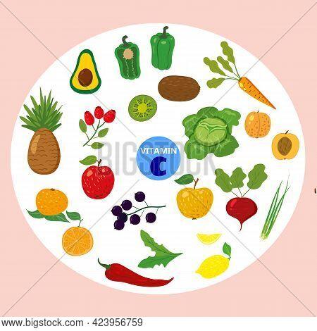 Set Of Vitamin C Origin Natural Sources. Healthy Diary Rich Ascorbic Acid, Fruits, Vegetables, Berri