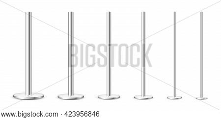 Realistic Metal Poles Collection Isolated On White Background. Glossy Steel Pipes Of Various Diamete
