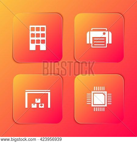 Set House, Printer, Warehouse And Processor With Microcircuits Cpu Icon. Vector