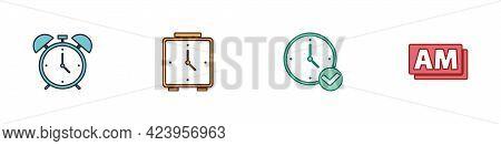 Set Alarm Clock, , Clock And Am Icon. Vector
