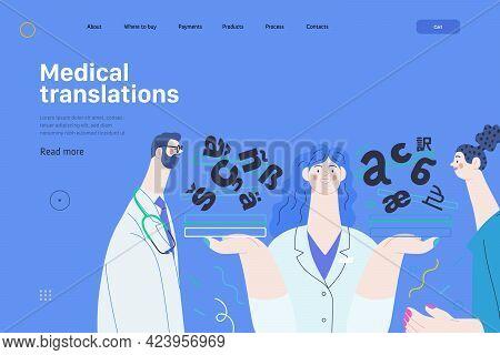 Medical Translations - Medical Insurance Web Template. Modern Flat Vector