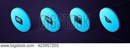 Set Isometric Cinema Camera, Movie Clapper, Hd Movie, Tape, Frame And 8k Ultra Hd Icon. Vector