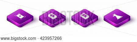 Set Isometric Online Play Video, 4k Ultra Hd, 8k And Megaphone Icon. Vector