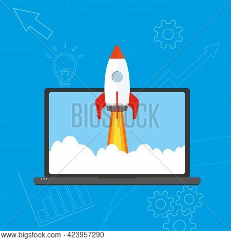 Rocket Flying Out Of Laptop Screen, Start Up Concept,