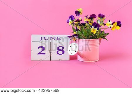 Calendar For June 28 : The Name Of The Month Of June In English, Cubes With The Number 28, A Bouquet