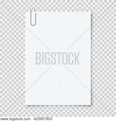 Realistic Blank Paper Sheet In A4 Format With Metal Clip, Holder On Transparent Background. Notebook