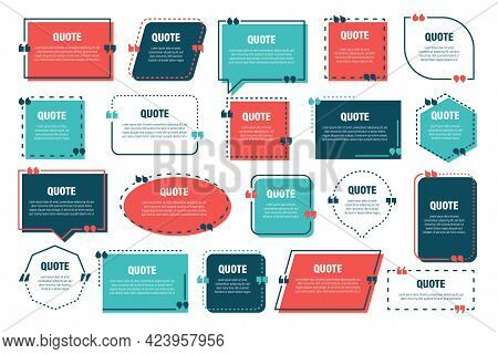 Set Of Various Colorful Isolated Quote Frames. Speech Bubbles With Quotation Marks. Blank Text Box A