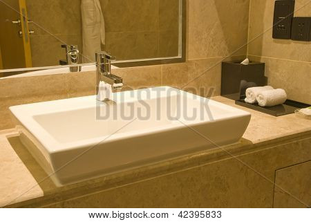 Fresh And Clean Washbasin And Stainless Steel Tap