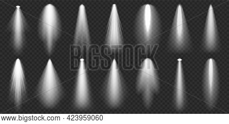 Spotlights Collection. Bright Light Beam. Transparent Realistic Effect. Stage Lighting. Glowing Ligh