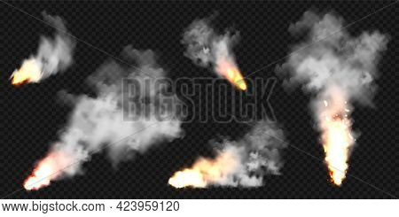 Realistic Smoke Clouds And Fire. Flame Blast, Explosion. Stream Of Smoke From Burning Objects. Fores