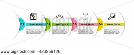 Set Line Unknown Document, Ufo Flying Spaceship, Hammer And Search Location. Business Infographic Te