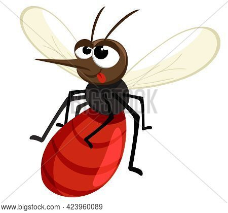 The Mosquito Has Drunk Blood And Flies On A White Background. The Character