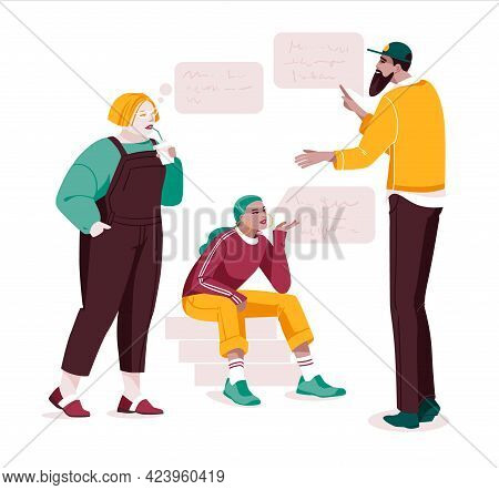 Set Of Multiethnic People Talking Or Speaking. Collection Of Chatting Couples With Speech Bubbles. M
