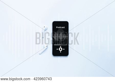 Podcast Icon. Audio Equipment With Microphone, Sound Headphones, Podcast Application On Mobile Smart