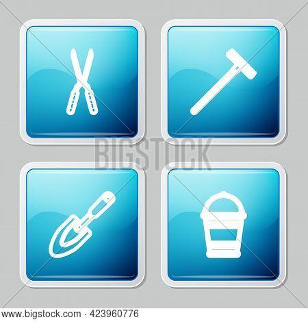 Set Line Gardening Handmade Scissor, Rake, Trowel Spade Shovel And Bucket Icon. Vector