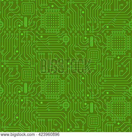 Seamless Pattern From A Computer Microcircuit. Green Background From Microprocessors And Chips. Vect