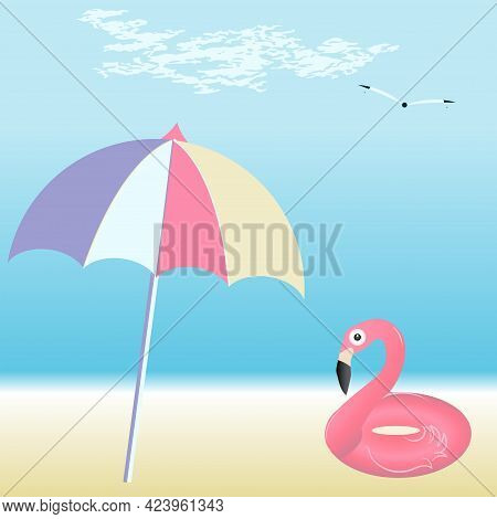 Seascape, Umbrella From The Sun, Swimming Inflatable Flamingo, Sandy Shore - Vector. Summer Vacation