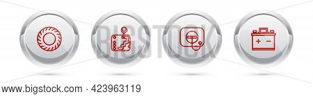 Set Line Car Tire, Gear Shifter, Oil Filler Cap At Gas Station And Battery. Silver Circle Button. Ve