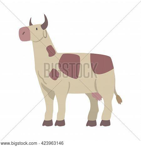 Cute Spotted Cow Farm Animal, Livestock Cartoon Vector Illustration