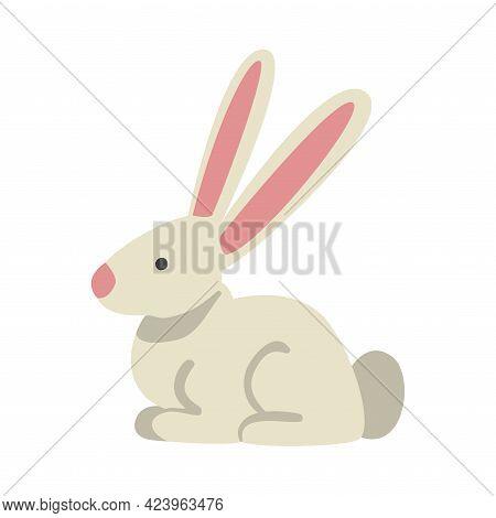 Cute White Rabbit Farm Animal, Livestock Cartoon Vector Illustration