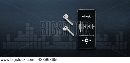 Music Banner. Mobile Smartphone Screen With Music Application, Sound Headphones. Audio Voice With Ra