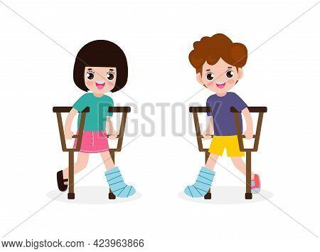 Set Of Asian Kids Injured With Broken Leg In Gypsum, Little Children Standing On Crutches, Cartoon T