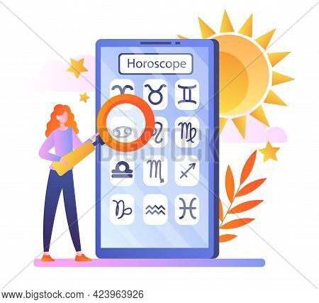 Woman View Daily Horoscope Forecast In App. Esoteric Future Prediction. Press Buttons In Application