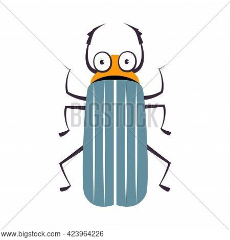 Cute Beetle Funny Insect, Lovely Colorful Creature Cartoon Vector Illustration