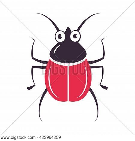 Cute Red Beetle Funny Insect, Lovely Colorful Creature Cartoon Vector Illustration