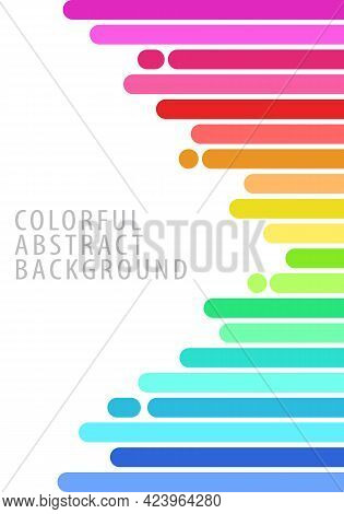 Colorful Abstract Background Pattern. Square Bars, Rounded Ends, Horizontal, Rainbow Gradient. Templ