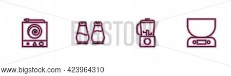 Set Line Electric Stove, Blender, Salt And Pepper And Electronic Scales Icon. Vector