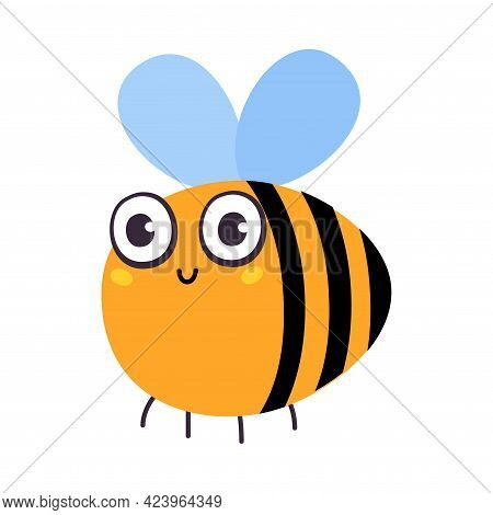 Cute Funny Honeybee Insect, Lovely Colorful Creature Cartoon Vector Illustration